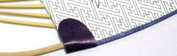 竹うちわ印刷「耳」濃紫色「縁」紺色