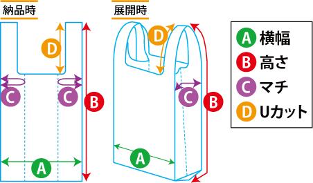 レジ袋(Uカット)のサイズ